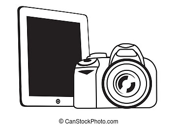 tablet and camera white - vector white tablet pad with a...