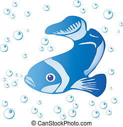 Fish and bubbles isolated on white - vector illustration.