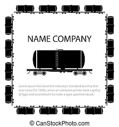American style tank car - Invitation card with american...
