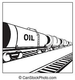 aceite, tanque, vagón