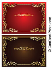 Frame and borders on seamless retro background - Lace Round...