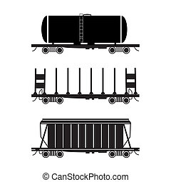 Hopper car, open wagon, tank car - Set of three stylised...