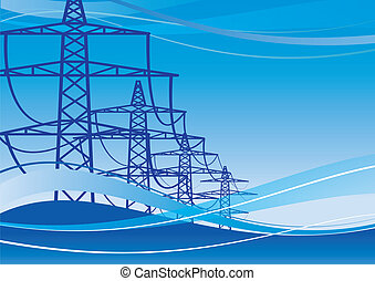 Electricity Pylons - High voltage electricity pylons over...