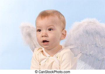 Angel boy - Surprised child with angel wings