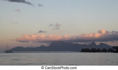 Tahiti - Sunset from Tahiti with View to Moorea Island in...