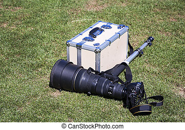 Camera and accessories - Camera with a huge telephoto lens...