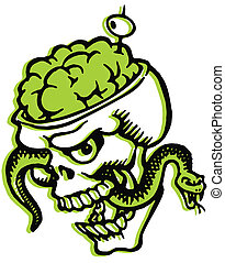 A skull with bulging brains and a snake and olive filled...