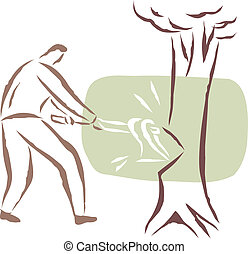 A man cutting a tree down