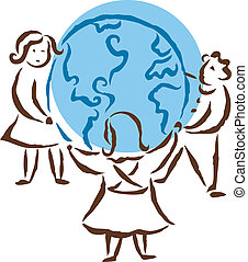 Friends holding hands around the globe