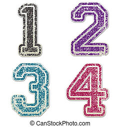 Numbers 1 to 4 in College Glitter - numbers 1 to 4