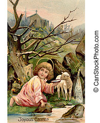 A vintage Easter postcard of a little angel with a lamb by...