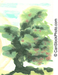 Tree - abstract watercolour painting