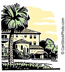 An illustration of a large home with a well established Palm...