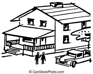 A black and white version of an illustration of a home with...