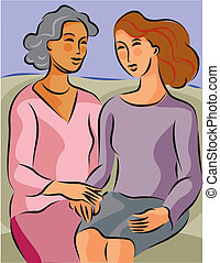 Illustration of two women sitting and confiding in each...