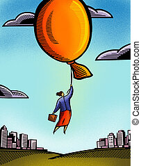 A businesswoman being carried away by a giant balloon