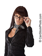Fashionable businesswoman - Young businesswoman looking over...