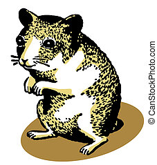 An illustration of a hamster standing on its hind legs