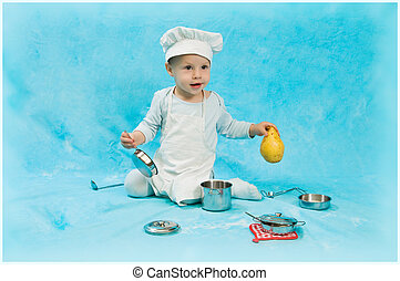 child scullion - the boy in clothes of the cook with...