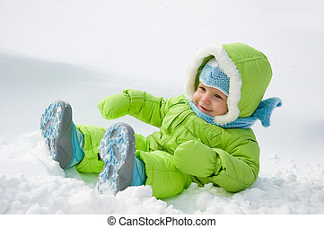 The child on snow - the child walks winter in the snow...