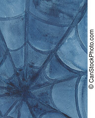 Spiders web - watercolour painting in blue shades