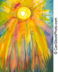 Sun and sunlight - watercolor painting