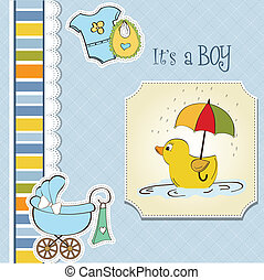 baby boy shower card with duck toy
