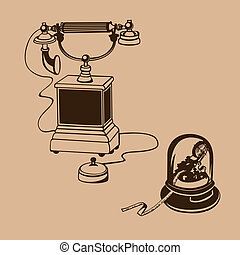 vintage phone - Vintage phone with telegraph paper. Vector...