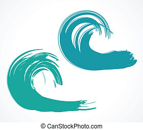 Two of wave Vector illustration - Set of wave Vector...