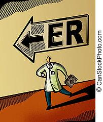 doctor, Funcionamiento, hacia, emergencia, habitación