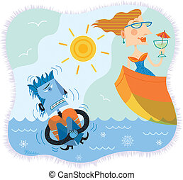 An illustration of a man in freezing water while a woman is...