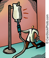 Doctor checking on a giant IV drip