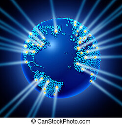 Global Network - Global network world with the international...