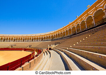 seats of bullfight arena, Sevilla, Spain - seats of...