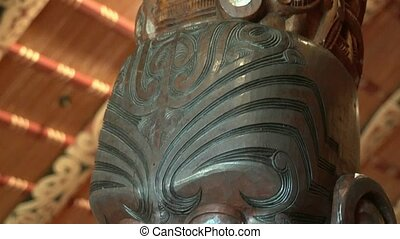 Maori carving close up - Waitangi - Paihia, New Zealand July...