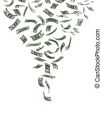Whirlwind of Money (isolated with clipping path)