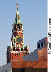 Lenin Mausoleum and Kremlin`s tower at Red Suare in Moscow...