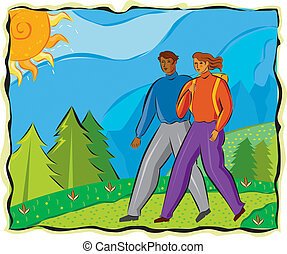 An illustration of a man and a woman hiking