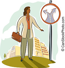businesswoman at a crossroads sign