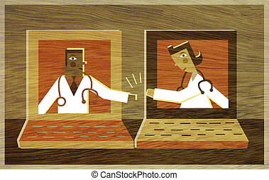 Two doctors in different lap top screens high fiving each...