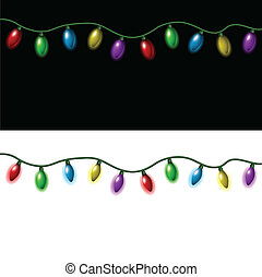 Christmas lights - Strings of Christmas lights on a black...