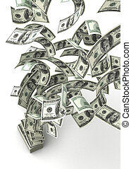 Flying Dollars (isolated with clipping path)