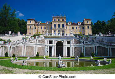 Villa della Regina in Turin, Italy - Facade and fountain of...