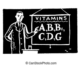 A black and white version of an illustration of a man with a sign reading Vitamins A, B etc