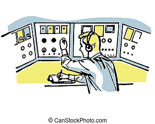 A vintage style illustration of a flight controller