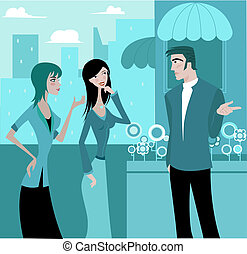 Two women talking to a man outdoors