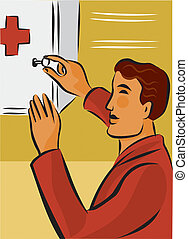 Man opening first aid kit with key