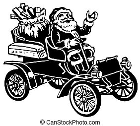 A Christmas inspired illustration of Santa in a car full of...