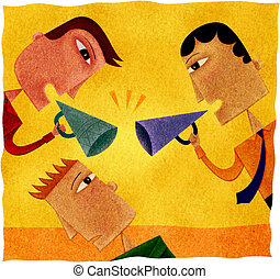 Two businessmen shouting with blowhorns at another man