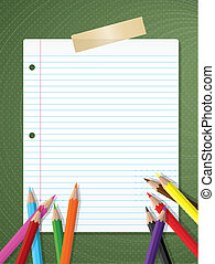 Back to school background with lined paper and coloured...